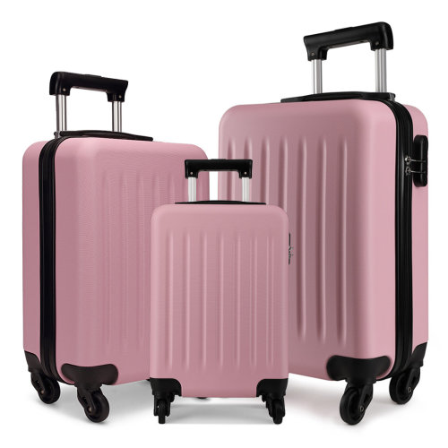 KONO Luggage Suitcase Travel Trolley Case Bag 19 24 28 Inch Set Hard Shell ABS 4 Wheels Spinner Pink