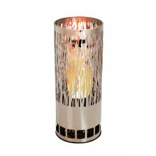 Silk Flame Effect Lamp - Round VINE BRAZIER in Silver