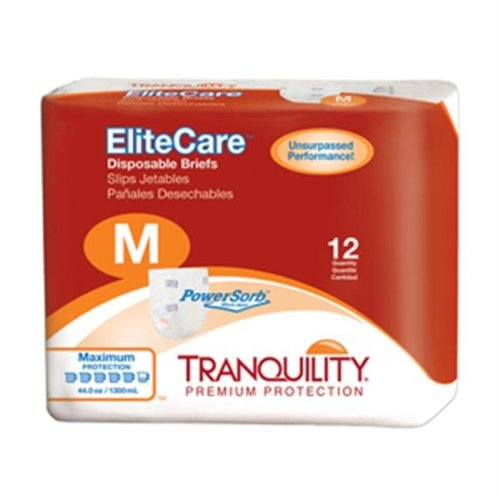 Tranquility EliteCare Disposable Briefs, Medium - 48 per Case