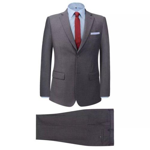 vidaXL Men's 2 Piece Business Suit Grey Size 54 Wedding Formal Jacket Trousers