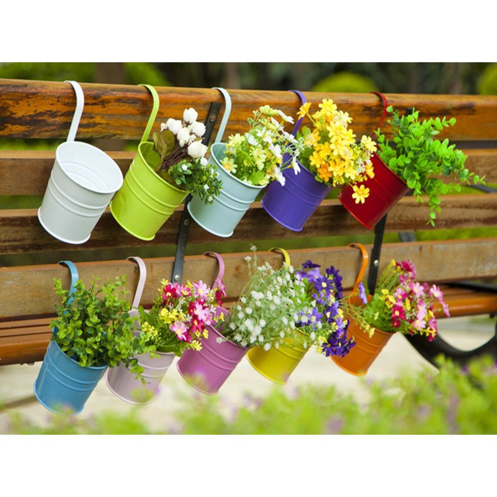 ... 10pc Dipamkar Colourful Metal Hanging Plant Pots | Colourful Plant Pots - 4 ...  sc 1 st  OnBuy : hanging flower pots - startupinsights.org