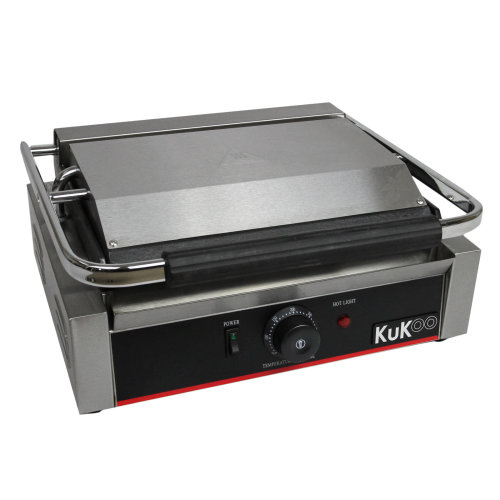KuKoo Grooved / Flat Panini Press Ribbed Contact Grill Sandwich Maker