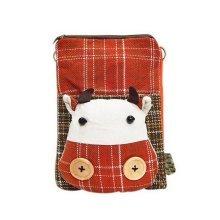 Cartoon Canvas Phone Package Korean Version Of Lovely Girl Cloth Bag Orange Calf