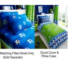 Goal Blue Football Soccer Kids Single Duvet Cover Children Rotary Bedding Set