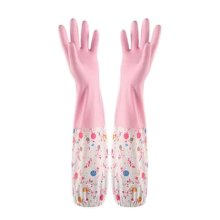 2 Pairs Rubber Cleaning Gloves with Lining Long Dishwashing Gloves, Smiling Face