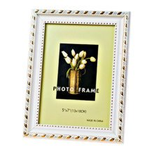 Set Of 2 Decorative Polyresin 4-by-6-Inch Picture Photo Frame, Gold Rim