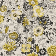 HD non-woven wallpaper flowers ochre yellow and beige