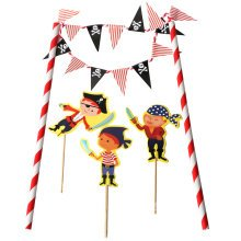 TRIXES Pirate Cake Banner Topper Flag Decoration