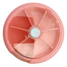 Circular 7 Day Pill Reminder Medicine Storage Container Pill Case, Light Pink