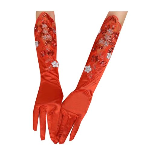 Women's Long Red Lace Elegant Bridal Gloves for Wedding/ Party/ Performance,C