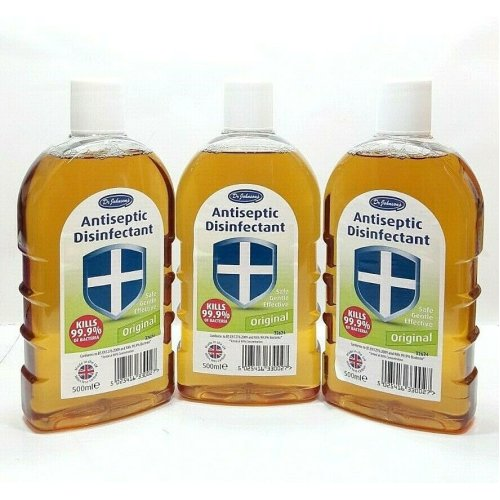 3 PCS DR JOHNSONS ANTISEPTIC DISINFECTANT ORIGINAL 500ML INJURY FIRST AID HOUSEHOLD CLEANING