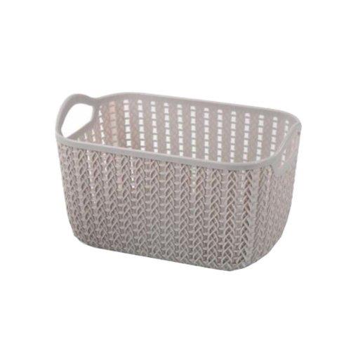Plastic Woven Storage Basket Box Portable Bathroom Cosmetic Organizer Grey