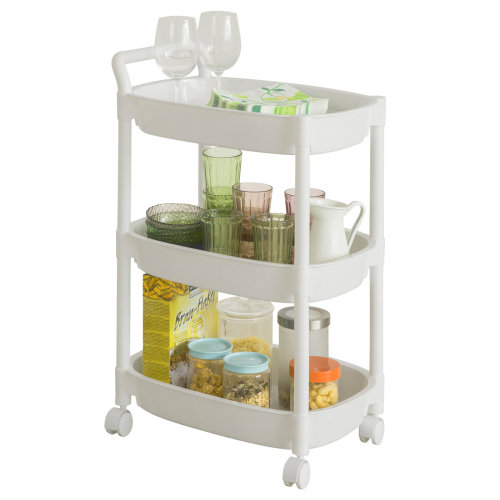 SoBuy® BZR15-K-W, 3 Tiers Plastic Rolling Trolley Serving Trolley Rack