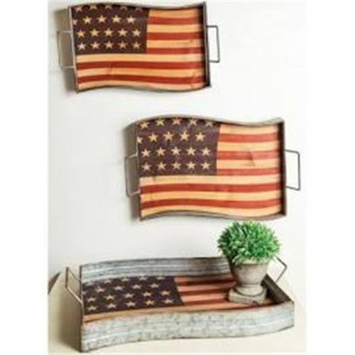 Manual Woodworkers & Weavers IMASAT 20 x 13.5 x 4 in. Americana Metal Tray, Assorted - Set of 3