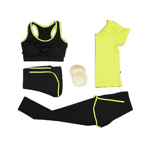 Women 4 Pieces High Impact Sport Suits Yoga Pants Gym Outfits Breathable