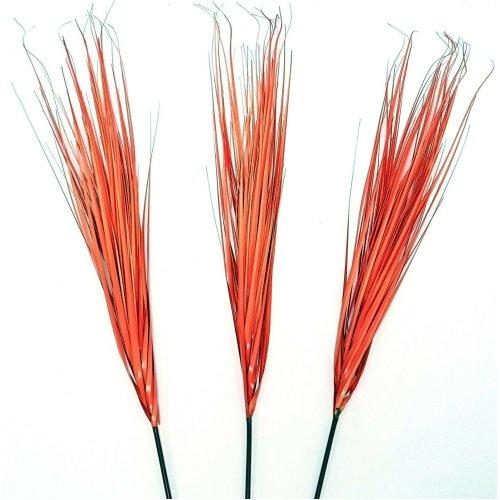 Set of 3 Artificial Orange Grass Sprays - 95cm - Orange Autumn Plants