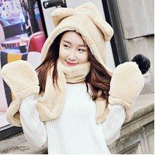 Women Winter Thicken Scarf Wrap Hat Gloves Set One Piece