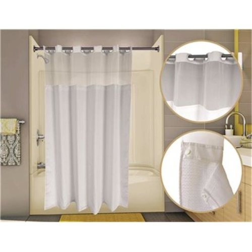 PHWADU7174WH Wingints Prehook Waffle Duet Shower Curtain, White