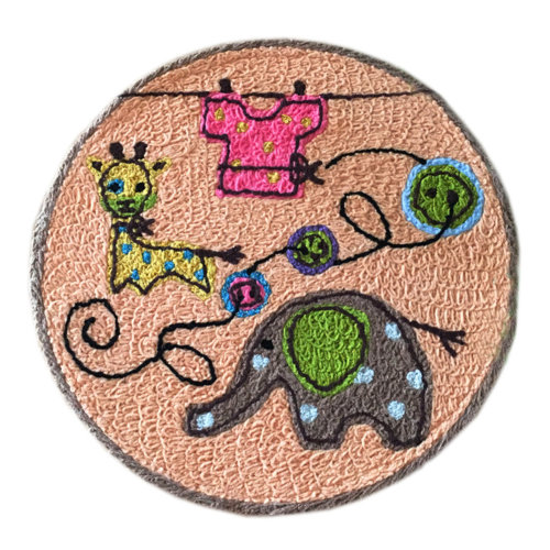 [Elephant] Children Bedroom Decor Rug Embroidered Mat Cartoon Carpet,23.62x23.62 inches