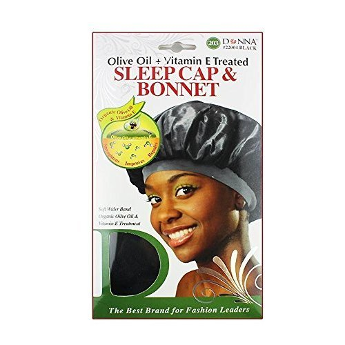 Donnas Olive Oil Vitamin E Treated Sleep Cap Bonnet Black