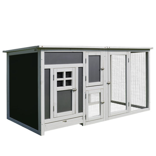 PawHut Wood Chicken Coop Guinea Pig Hutch Hen Poultry House Small Animal Cage PC Roof w/ Run Nest Box Deluxe 160 x 75 x 80 cm
