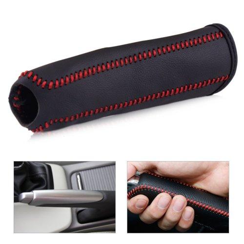 beler Black Leather Hand Brake Red Stitching Handbrake Decorative Cover Protective Sleeve