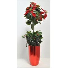 Artificial Red Poinsettia Tree Arrangement in a Viet Planter
