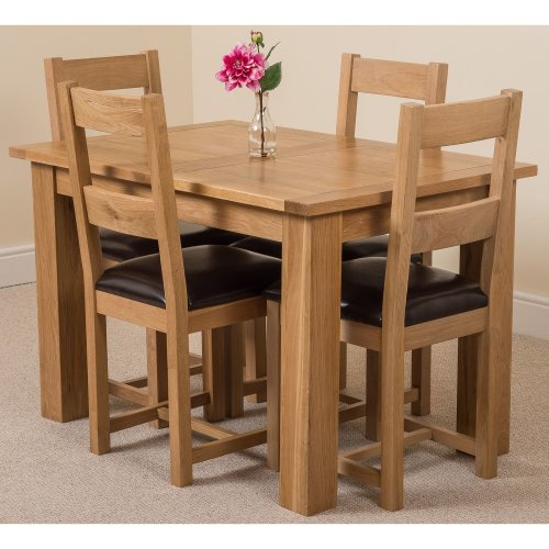 Hampton Solid Oak 120cm Extending Dining Table with Lincoln Dining Chairs