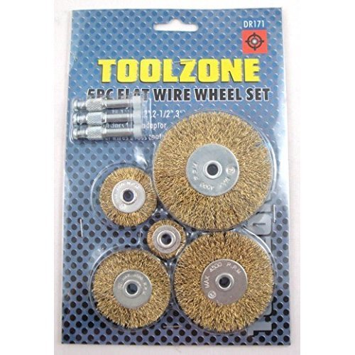 Toolzone 5pc Flat Wire Wheels For Drill -  wire flat drill wheel set 5pc brush paintrust removal fits your adaptor new wheels rotary