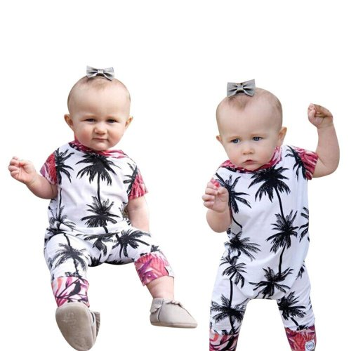 2017 Cute Newborn Baby Girls Boy Rompers with Leaves Printed Hooded Short Sleeve Infant Romper Jumpsuit Playsuit Outfits Costume