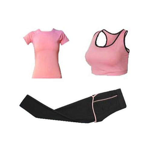 Fitness Training Set, Women 3 Pieces Sport Suits Yoga Pants Gym Outfits