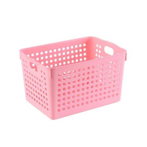 Pink Plastic Storage Organizing Basket Closet Shelves Organizer Bins Set of 2