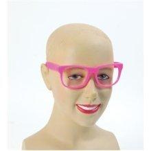 Pink Adults Retro Glasses - Fancy Dress New Party Fun Frame Neon Dance Festival -  fancy dress glasses new party fun pink frame neon dance festival