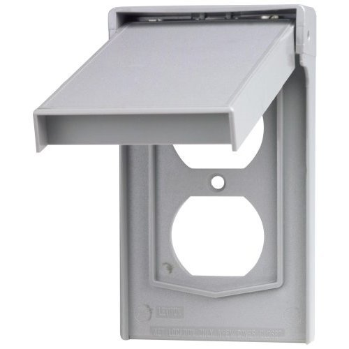 Leviton 4978 GY 1 Gang Duplex Device Wallplate Cover Weather Resistant Thermoplastic Device Mount Vertical Gray