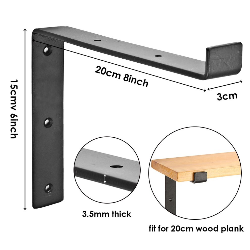 KING DO WAY Shelf Brackets, Industrial Shelf Angle Braces Brackets for  Rustic Shelf, Scaffold Board, Wall Mounted Vintage Shelving 2Pcs  200mm*150mm
