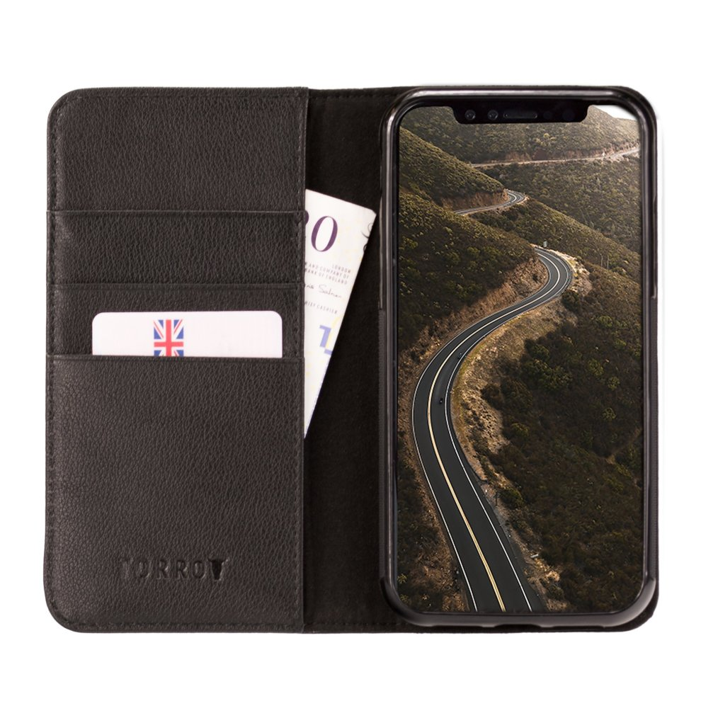 pretty nice c1057 117ac TORRO iPhone XS / iPhone X Black Napa Leather Case, with Stand Function