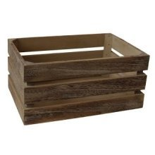Small Oak Effect Slatted Wooden Storage Crate