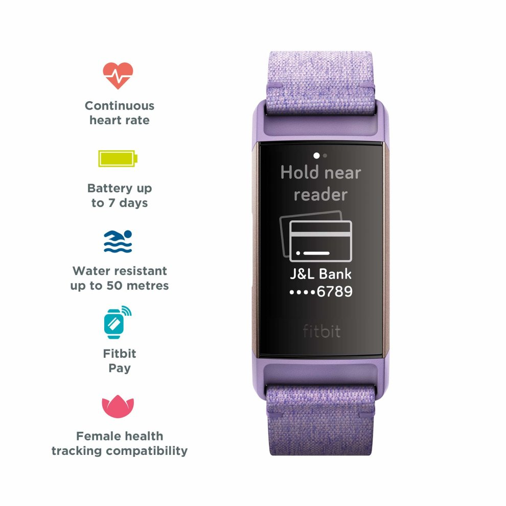 Fitbit Charge 3 Special Edition Advanced Health and Fitness Tracker -  Rose-Gold/Lavender, One Size