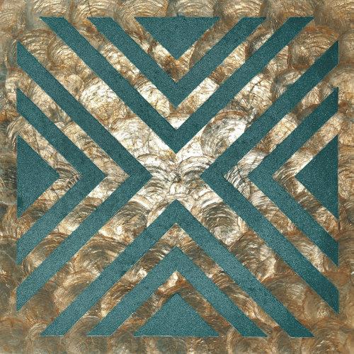 WallFace LU10-12 panel set shells glass beads mother-of-pearl bronze green-blue
