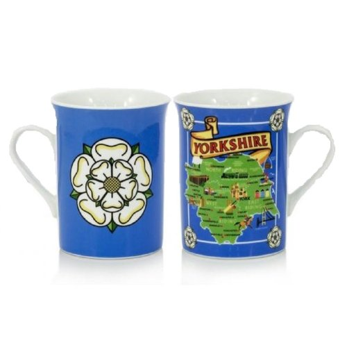 Yorkshire Map White Rose Mug Cup Souvenir Gift Ridings Whitby Abbey Dales York