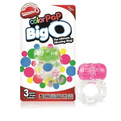 Screaming O Colour Pop BigO Vibrating Cock Ring With Clitoral Stimulator Pink