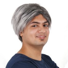 Gray Short Straight Centre Parting Male Wig