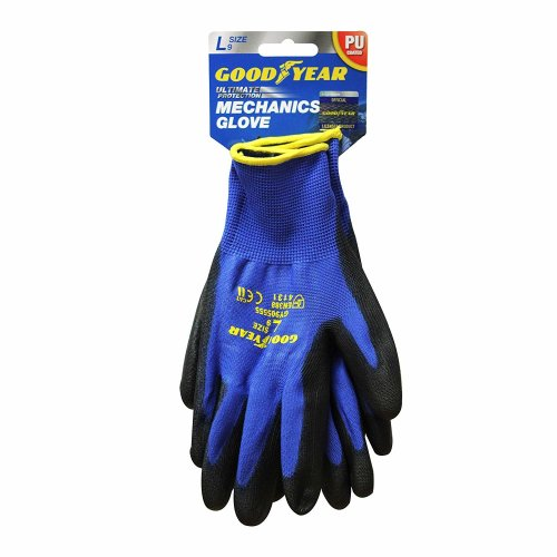 Goodyear Nylon PU Coated Safety Work Gloves Garden Grip Men Builder Gardening Mechanics Cut Tear Resistant Puncture EN388 4131 and CE Cat II certification - Large