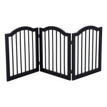 PawHut Wooden Dog Gate Stepover Panel Pet Fence Folding Safety Barrier (Black)