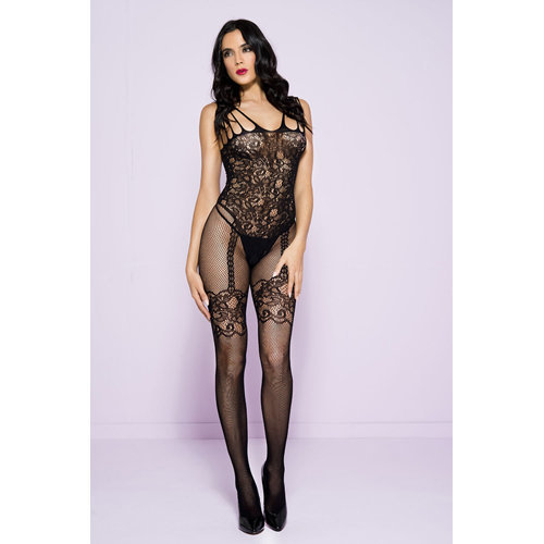 Catsuit With Garter Set Design One Size (S-L 34 - 40) Ladies Lingerie Cat suits - Music Legs