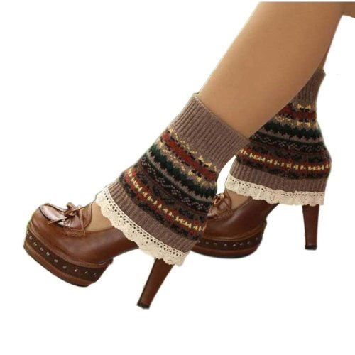 1e31dd44f Women s Short Boots Socks Knitted Boot Cuffs Ladies Leg Warmers Socks Lace  Edge