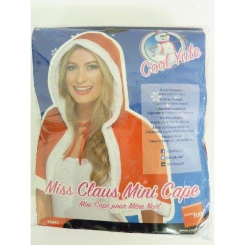 Red Ladies Miss Claus Mini Cape -  miss claus mini cape dress red christmas fancy ladies