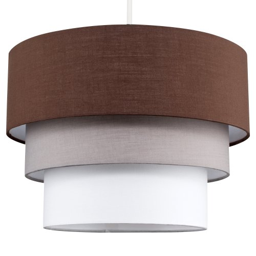 Beautiful Round Modern 3 Tier Brown, Grey And Taupe Fabric Ceiling Designer Pendant Lamp Light Shade