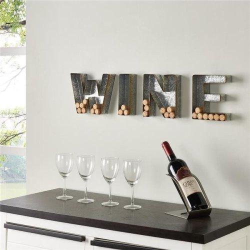 Danya B HG11415 Wall Mount Wine Letter Set Cork Holder - Galvanized Sheet Metal