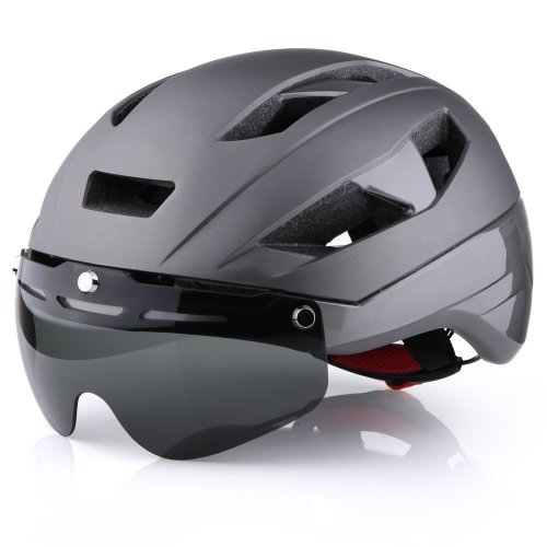 Base Camp Moon Road Bike Helmets with Removable Eye Shield Visor for Adult Cycling (Grey)
